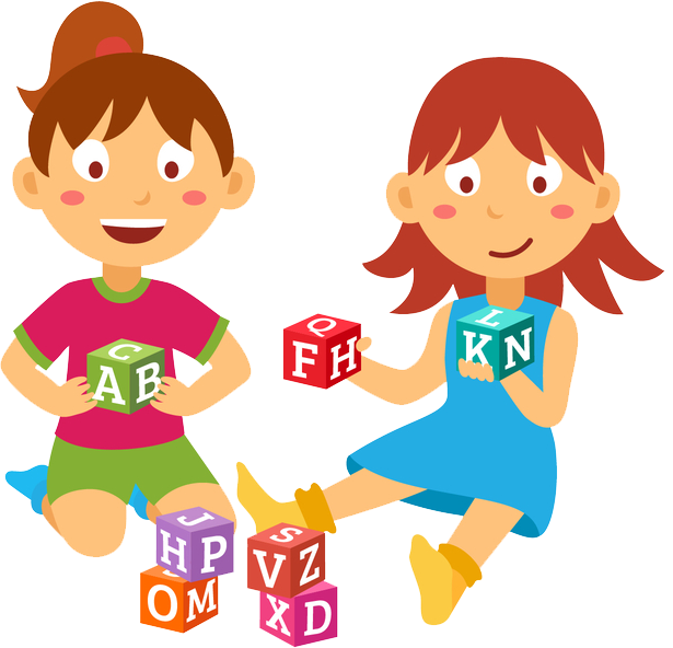 Kids Playing With Blocks Illustration