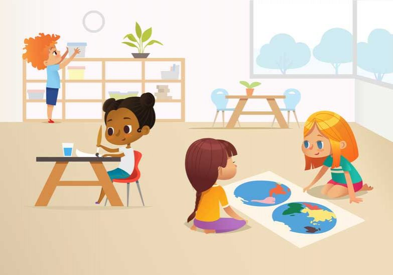 Kids Learning in Classroom Illustration